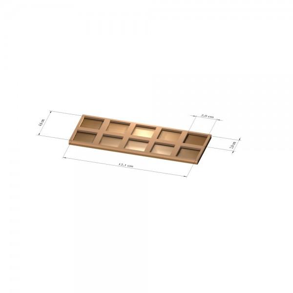 2x5 Tray 20 mm eckig, 2mm