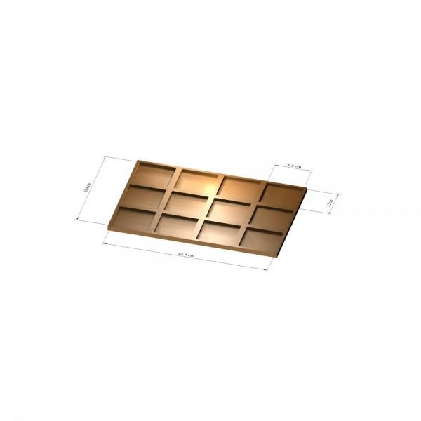 3x4 Tray 32 mm eckig, 2mm