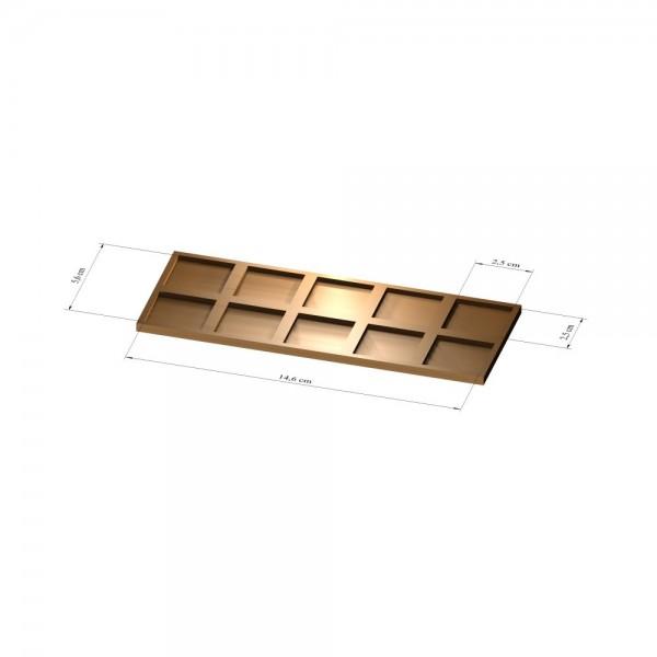 2x5 Tray 25 mm eckig, 2mm