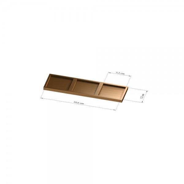 1x3 Tray 32 mm eckig, 3mm