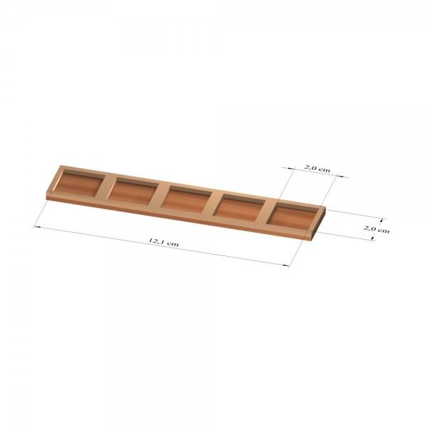 1x5 Tray 20 mm eckig, 2mm