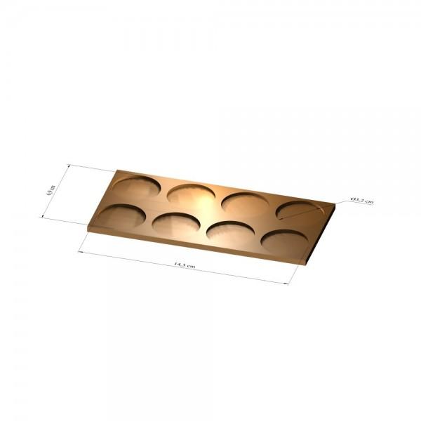 2x4 Tray 32 mm rund, 3mm
