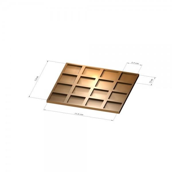 4x4 Tray 25 mm eckig, 2mm