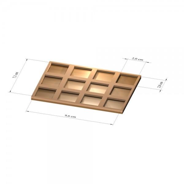 3x4 Tray 20 mm eckig, 2mm