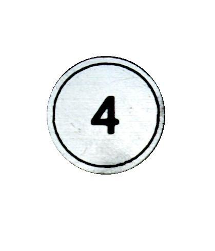 """Zahlenmarker rund """"4"""", silber"""