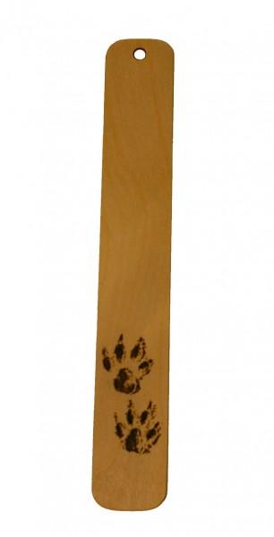 Lesezeichen Pfoten aus Holz