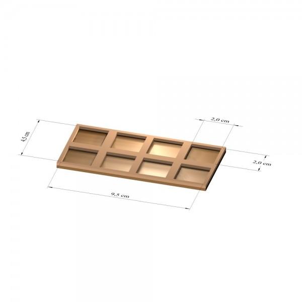 2x4 Tray 20 mm eckig, 2mm