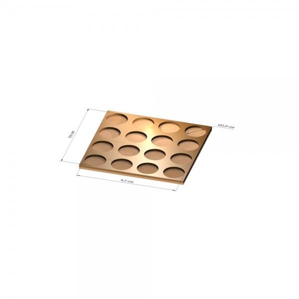 4x4 Tray 20 mm rund, 3mm
