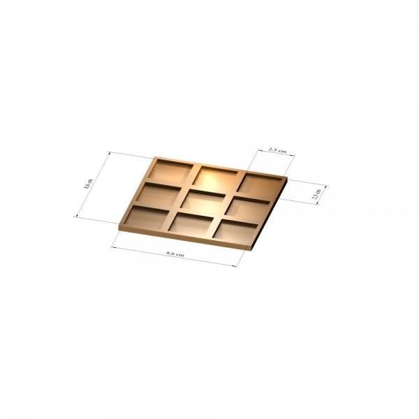 3x3 Tray 25 mm eckig, 3mm