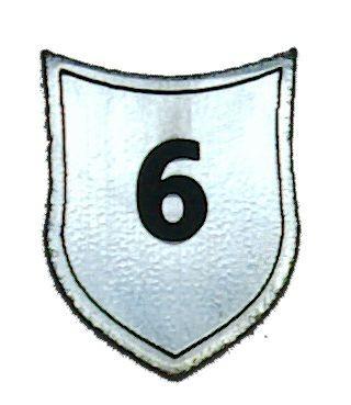 """Zahlenmarker Schild """"6"""", silber"""