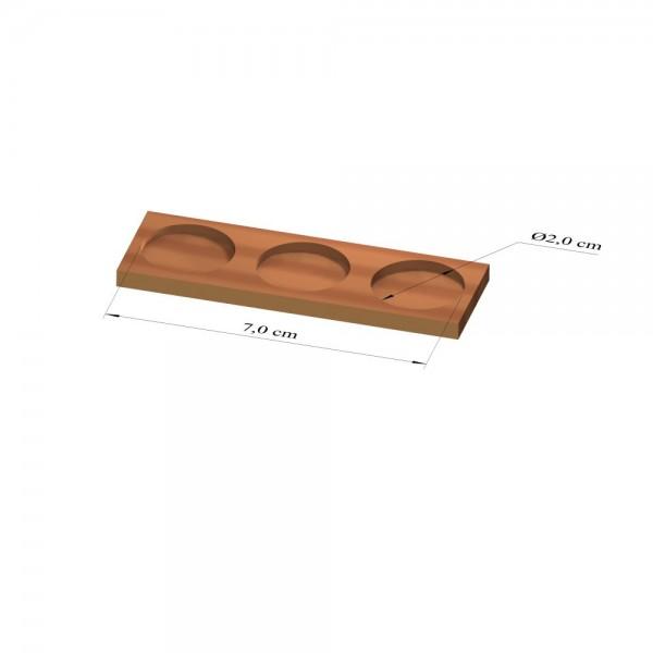 1x3 Tray 20 mm rund, 3mm