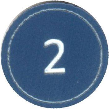 """Zahlenmarker rund """"2"""", blau"""