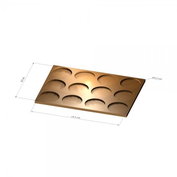 3x4 Tray 32 mm rund, 3mm