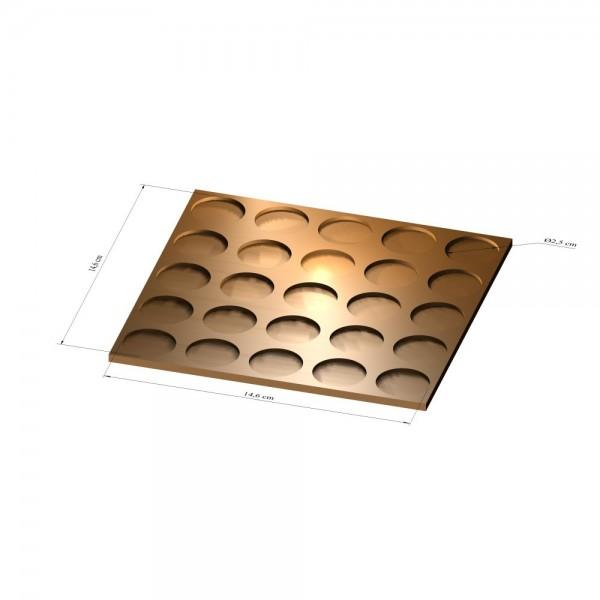 5x5 Tray 25 mm rund, 3mm