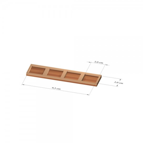 1x4 Tray 20 mm eckig, 2mm
