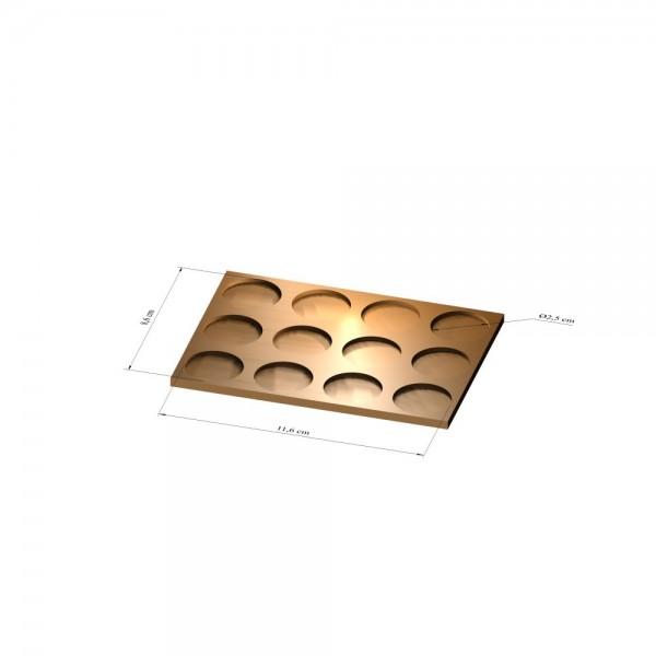 3x4 Tray 25 mm rund, 2mm
