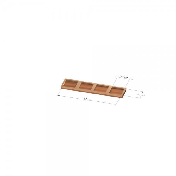 1x4 Tray 25 mm eckig, 2mm
