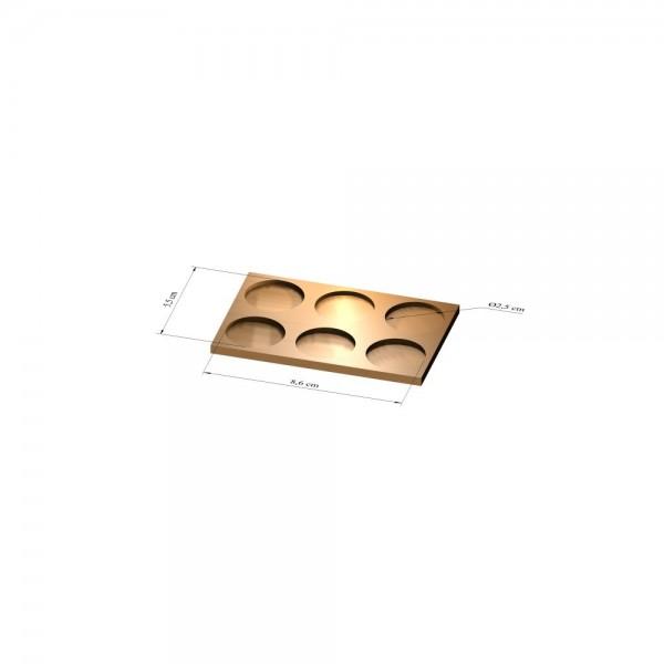 2x3 Tray 25 mm rund, 3mm