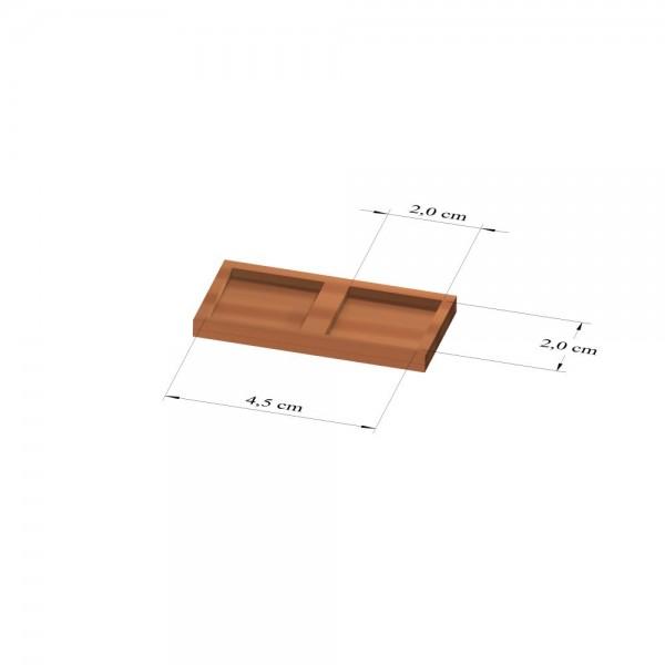 1x2 Tray 20 mm eckig, 2mm