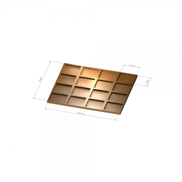 4x4 Tray 32 mm eckig, 3mm