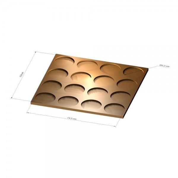 4x4 Tray 32 mm rund, 3mm