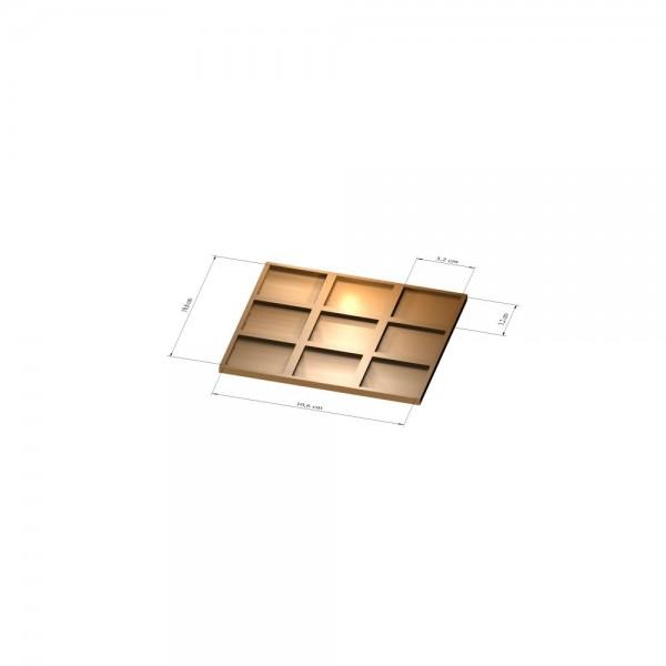 3x3 Tray 32 mm eckig, 3mm