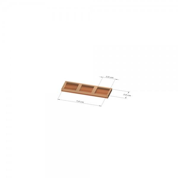 1x3 Tray 20 mm eckig, 2mm