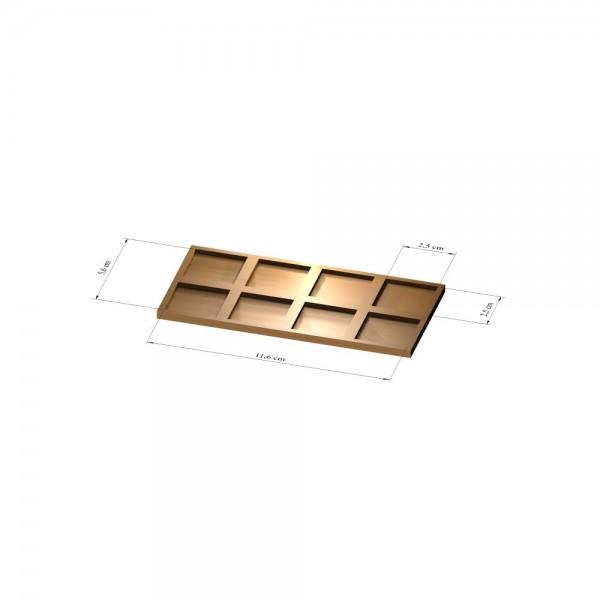 2x4 Tray 25 mm eckig, 3mm