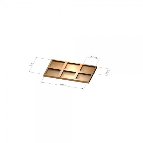 2x3 Tray 25 mm eckig, 3mm