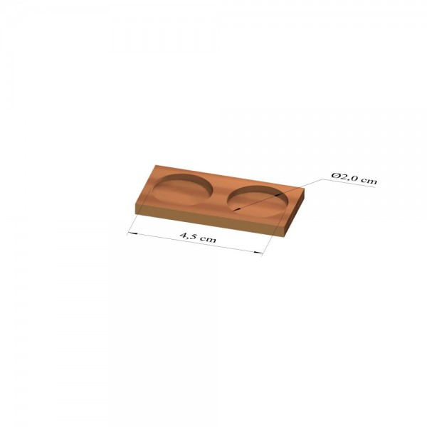 1x2 Tray 20 mm rund, 3mm