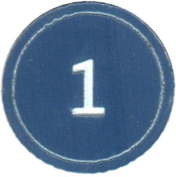 """Zahlenmarker rund """"1"""", blau"""