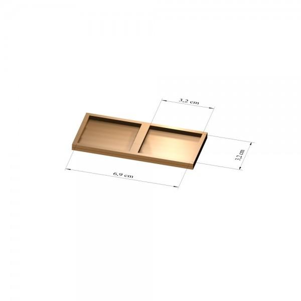 1x2 Tray32 mm eckig, 3mm