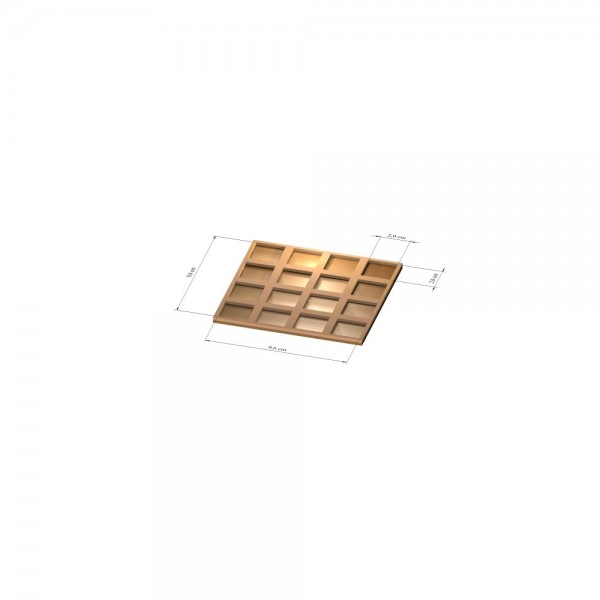 4x4 Tray 20 mm eckig, 2mm
