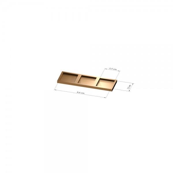 1x3 Tray 25 mm eckig, 3mm