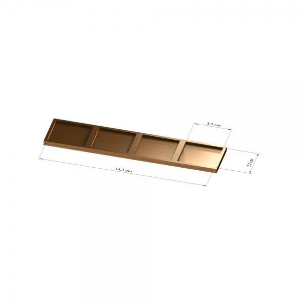 1x4 Tray 32 mm eckig, 3mm