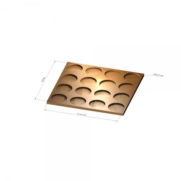 4x4 Tray 25 mm rund, 2mm