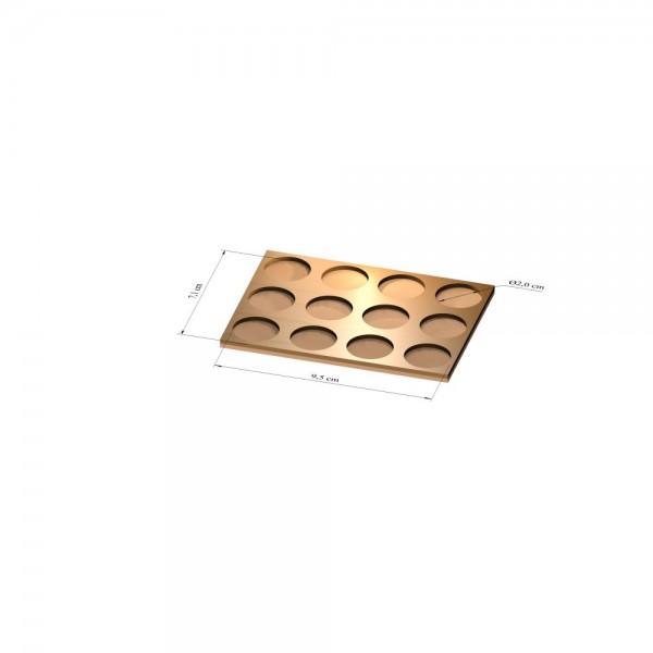 3x4 Tray 20 mm rund, 2mm