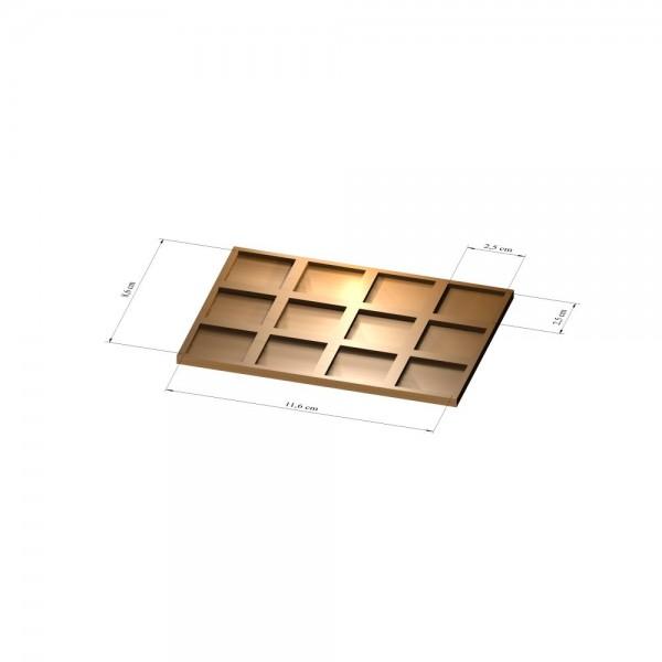 3x4 Tray 25 mm eckig, 2mm
