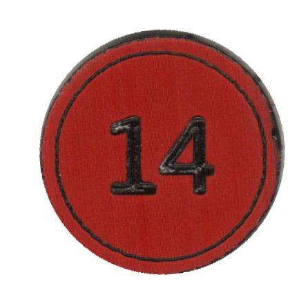 """Zahlenmarker rund """"14"""", rot"""