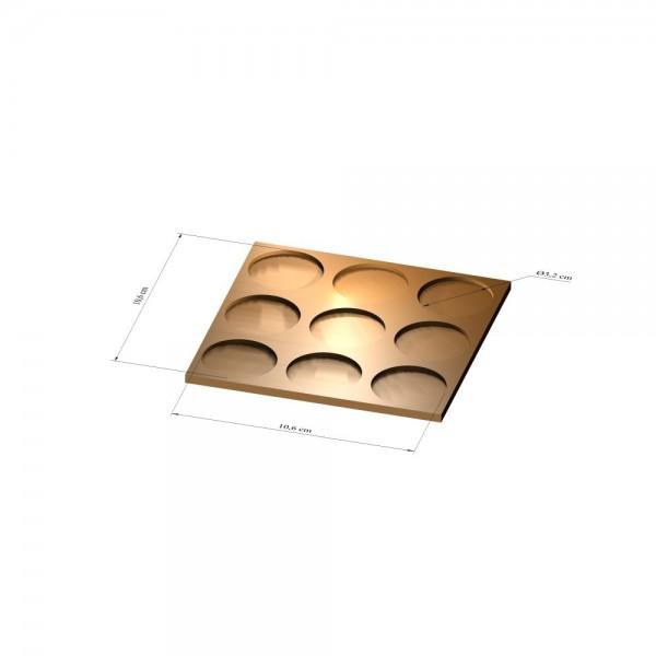 3x3 Tray 32 mm rund, 3mm