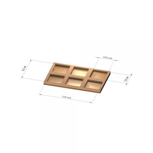 2x3 Tray 20 mm eckig, 3mm