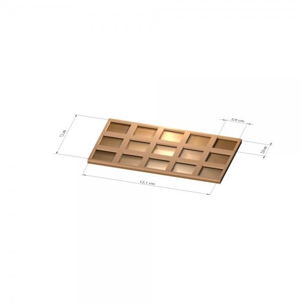 3x5 Tray 25 mm eckig, 2mm