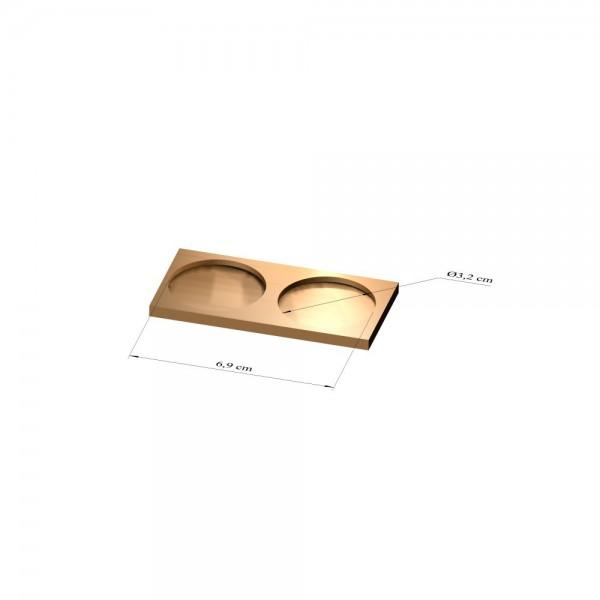 1x2 Tray 32 mm rund, 2mm
