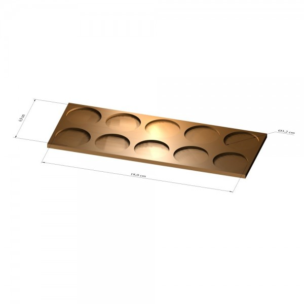 2x5 Tray 32 mm rund, 3mm