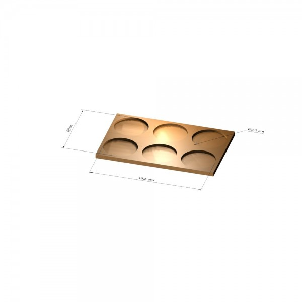 2x3 Tray 32 mm rund, 3mm