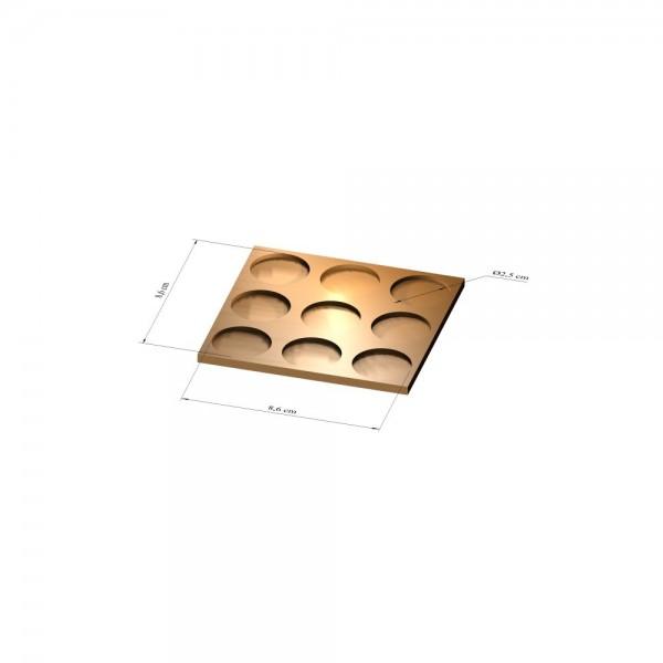 3x3 Tray 25 mm rund, 2mm